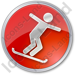 Snowboarding Circle Red Icon, PNG/ICO, 256x256
