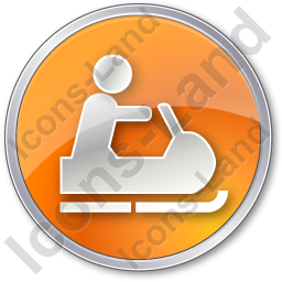 Snowmobiling Circle Orange Icon
