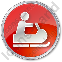 Snowmobiling Circle Red Icon, PNG/ICO, 256x256