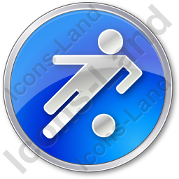 Soccer Circle Blue Icon, PNG/ICO, 256x256