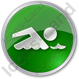 Swimming Circle Green Icon, PNG/ICO, 256x256