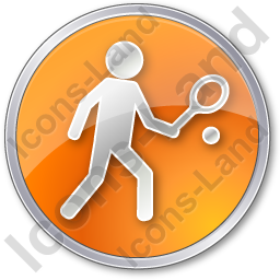 Tennis Player Circle Orange Icon, PNG/ICO, 256x256