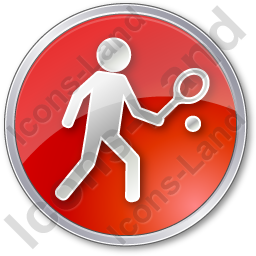 Tennis Player Circle Red Icon