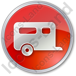 Trailer Circle Red Icon, PNG/ICO, 256x256