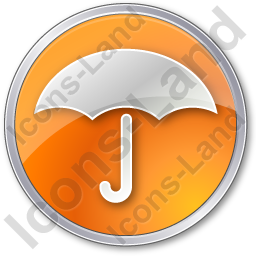 Umbrella Circle Orange Icon