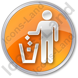 Waste Container Circle Orange Icon, PNG/ICO, 256x256