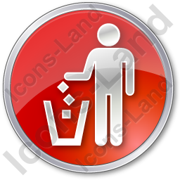 Waste Container Circle Red Icon