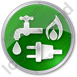 Water Gas Electricity Circle Green Icon, PNG/ICO, 256x256