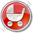 Baby Carriage Circle Red Icon, PNG/ICO, 48x48