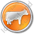 Cow Circle Orange Icon, PNG/ICO, 48x48