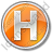 Hotel H Circle Orange Icon, PNG/ICO, 48x48