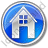 House Circle Blue Icon, PNG/ICO, 48x48