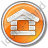 Log Cabin Circle Orange Icon, PNG/ICO, 48x48