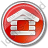 Log Cabin Circle Red Icon
