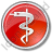 Medicine Rod Of Asclepius Circle Red Icon