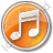 Music Circle Orange Icon, PNG/ICO, 48x48