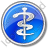 Physician Rod Of Asclepius Circle Blue Icon, PNG/ICO, 48x48