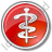 Physician Rod Of Asclepius Circle Red Icon, PNG/ICO, 48x48