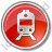 Railway Station Circle Red Icon, PNG/ICO, 48x48