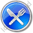 Restaurant Fork Knife Crossed Circle Blue Icon, PNG/ICO, 48x48