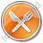 Restaurant Fork Knife Crossed Circle Orange Icon, PNG/ICO, 48x48