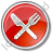 Restaurant Fork Knife Crossed Circle Red Icon, PNG/ICO, 48x48