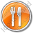 Restaurant Fork Knife Parallel Circle Orange Icon, PNG/ICO, 48x48