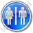 Restroom Women Man Circle Blue Icon