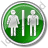 Restroom Women Man Circle Green Icon