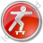 Skateboarding Circle Red Icon