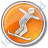 Snowboarding Circle Orange Icon