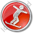 Snowboarding Circle Red Icon, PNG/ICO, 48x48
