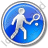 Tennis Player Circle Blue Icon