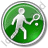Tennis Player Circle Green Icon