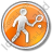 Tennis Player Circle Orange Icon, PNG/ICO, 48x48