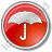 Umbrella Circle Red Icon