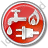 Water Gas Electricity Circle Red Icon