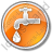Water Tap Circle Orange Icon, PNG/ICO, 48x48