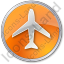 Airport Circle Orange Icon, PNG/ICO, 64x64