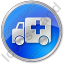 Ambulance Circle Blue Icon, PNG/ICO, 64x64