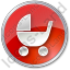 Baby Carriage Circle Red Icon