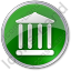Bank Circle Green Icon, PNG/ICO, 64x64