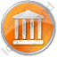 Bank Circle Orange Icon