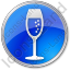 Bar Champagne Circle Blue Icon, PNG/ICO, 64x64
