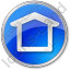 Camping Shelter Circle Blue Icon, PNG/ICO, 64x64