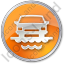 Car Ferry Circle Orange Icon, PNG/ICO, 64x64