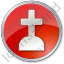 Cemetery Cross Circle Red Icon