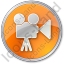 Cinema Circle Orange Icon, PNG/ICO, 64x64