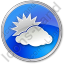 Cloudy Partly Circle Blue Icon
