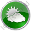 Cloudy Partly Circle Green Icon